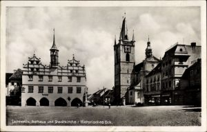 Ak Litoměřice Leitmeritz Reg. Aussig, Rathaus, Stadtkirche, Radnice