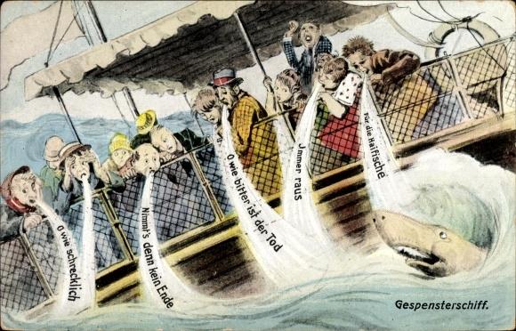Künstler Ak Immer raus für die Haifische, Boot, Seekranke Passagiere, Gespensterschiff