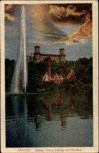 Ak Kamieniec Ząbkowicki Camenz Schlesien, Kgl. Prinzl. Schloss und Fontäne