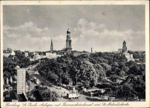 Ak Hamburg Mitte St. Pauli, St. Pauli Anlagen mit Bismarckdenkmal und St. Michaeliskirche