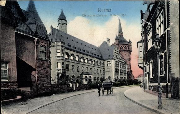 Ak Worms in Rheinland Pfalz, Eleonorenschule mit Huttenstraße, Turm
