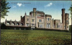Ak Babelsberg Potsdam in Brandenburg, Blick zum Schloss Babelsberg, Fassade, Schlossturm
