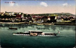 Ak Pirna in Sachsen, Blick über die Elbe zur Stadt, Salondampfer, Kirchturm