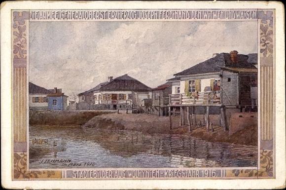 Künstler Ak Lehmann, J., Wolhynische Städtebilder,Kriegsjahr 1916,Die 4. Armee den Witwen und Waisen