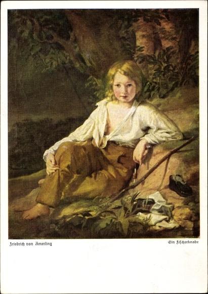 Künstler Ak Amerling, Friedrich von, Ein Fischerknabe, Junge mit Angel am Ufer