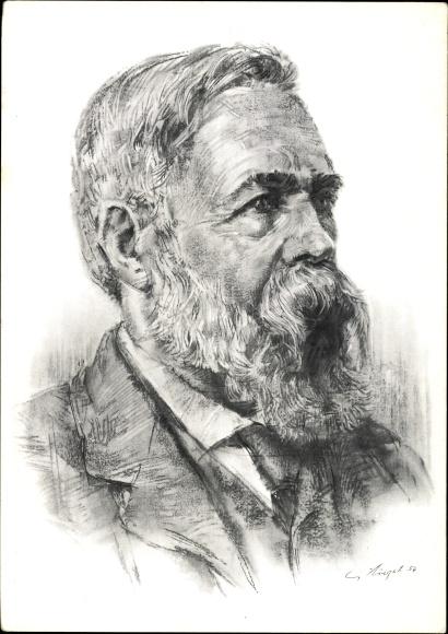 Künstler Ak Augst, Gerhard, Philosoph und Gesellschaftstheoretiker Friedrich Engels, Portrait