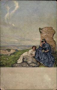 Künstler Ak Liebermann, Ernst, Auf Bergeshöhe, Volkskunstverlag 35 320, zwei Frauen, Ruine