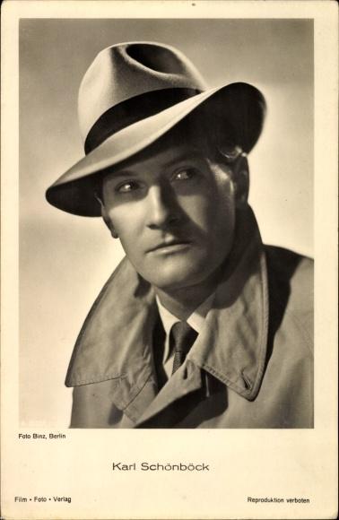Ak Schauspieler Karl Schönböck, Portrait mit Hut und Mantel, A 35721 1