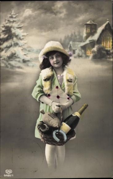 Ak Glückwunsch Neujahr, Mädchen mit Korb, Sektflasche, Hufeisen, Geldsack, EAS 9495 1