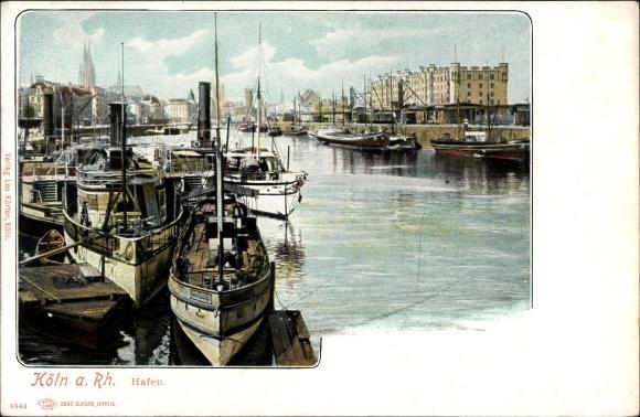 Ak Köln am Rhein, Blick auf den Hafen, Schiffe