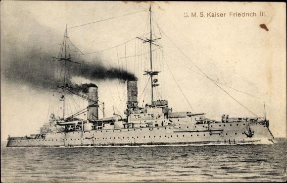 Ak Deutsches Kriegsschiff, SMS Kaiser Friedrich III, Kaiserliche Marine