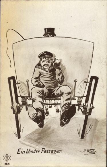 Künstler Ak Wietz, O., Ein blinder Passagier, Seemann auf einer Kutsche
