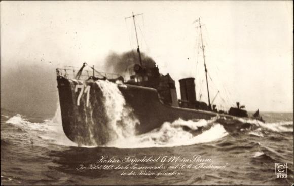 Ak Deutsches Kriegsschiff, Hochsee Torpedoboot G 171 im Sturm, Kaiserliche Marine