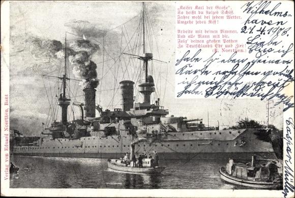 Ak Deutsches Kriegsschiff, SMS Kaiser Karl der Große, Kaiserliche Marine