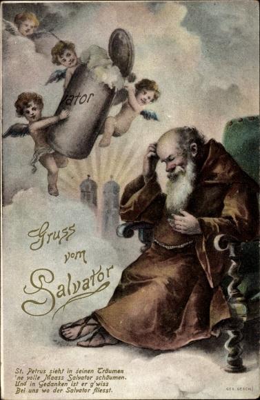 Künstler Ak Gruß vom Salvator, Petrus träumt von Salvator Bier, Engel mit Bierkrug