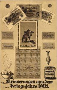 Geldschein Ak Kriegsjahre 1916, Fleischloser Tag, 5 Mark, Darlehenskassenschein