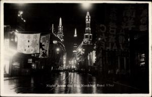 Ak Shanghai China, Night Scene on the Nanking Road, Nachtbeleuchtung, ABC Sale