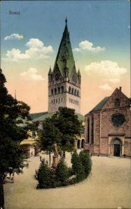 Ak Soest in Nordrhein Westfalen, Blick auf Kirche, Denkmal