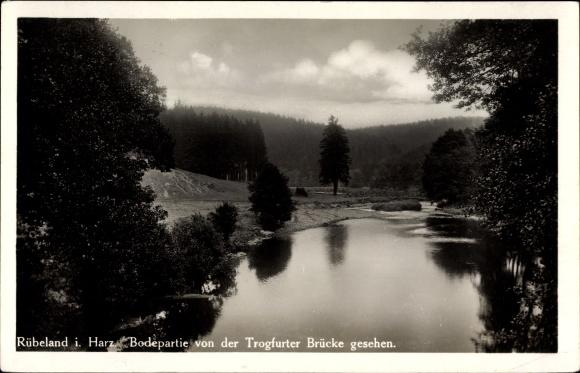 Ak Rübeland Oberharz am Brocken, Bodepartie von der Trogfurter Brücke gesehen