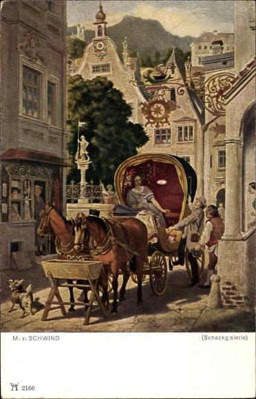 Künstler Ak Schwind, Moritz von, Die Hochzeitsreise, Ackermann 2166