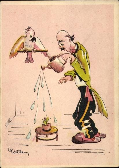 Künstler Ak Wilken, C., Papagei auf einer Stange, Kakadu, Mann mit Gießkanne