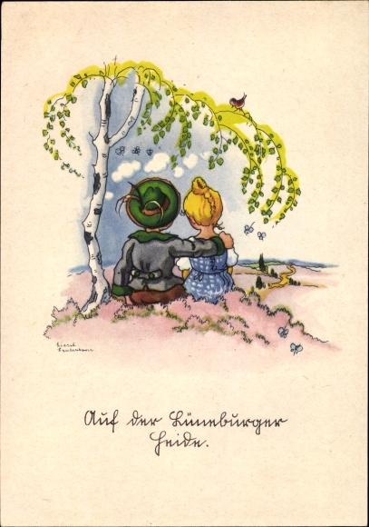 Künstler Ak Lauterborn, Liesel, Auf der Lüneburger Heide, Paar unter einer Birke, Aussicht