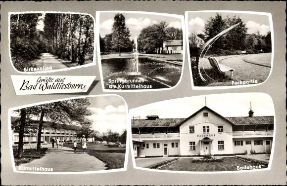 Ak Bad Waldliesborn Lippstadt im Kreis Soest Nordrhein Westfalen, Badehaus, Kurmittelhaus, Park