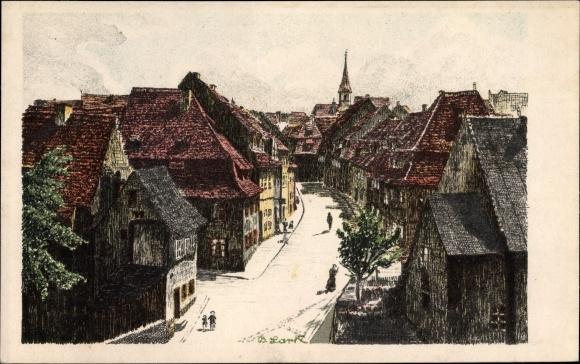 Künstler Ak Lark, B., Cheb Eger Reg. Karlsbad, Staufengasse