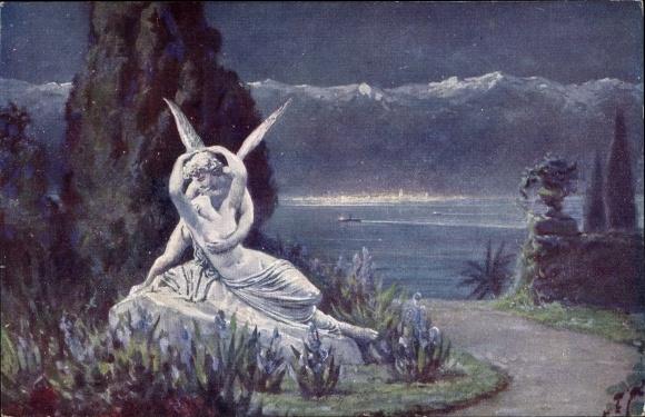 Künstler Ak Liebscher, Ad., Mondnacht im Süden, Statue, Engel