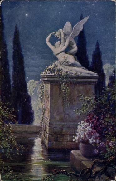 Künstler Ak Liebscher, A., Rimska laska, Denkmal, Nachtszene