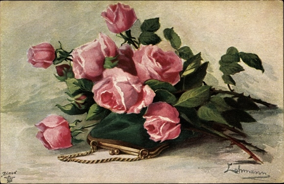 Künstler Ak Lehmann, Blumenstrauß, Rosen, Primus Nr 1231
