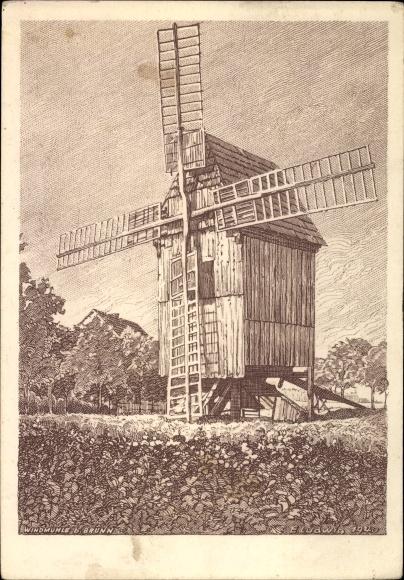 Künstler Ak Ludwig, E., Blick auf eine Windmühle