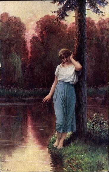Künstler Ak Liebscher, Adolf, Verlassen, Portrait einer Frau, Landschaftsidylle