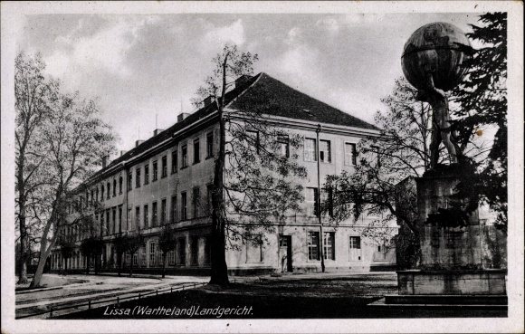 Ak Lissa Leszno Poznań Posen, Landgericht, Atlasdenkmal