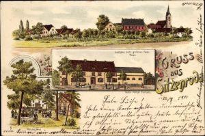 Litho Sitzenroda Belgern Schildau in Nordsachsen, Gasthaus zum goldnen Fass