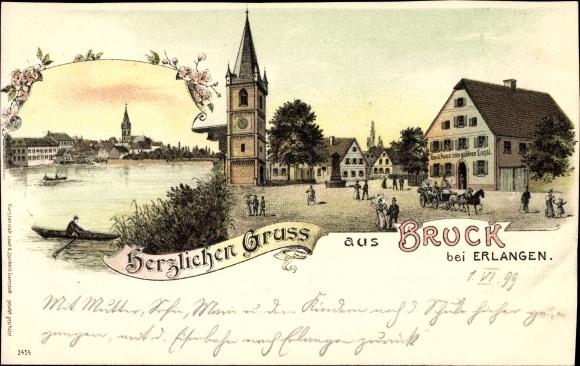 Litho Bruck Erlangen in Mittelfranken Bayern, Marktplatz, Gasthaus zum goldenen Engel
