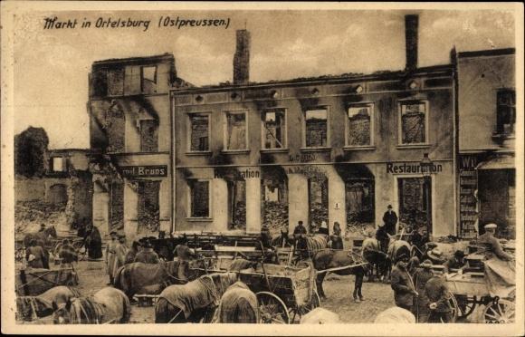 Ak Szczytno Ortelsburg Ostpreußen, Marktplatz, Kriegszerstörungen, I. WK