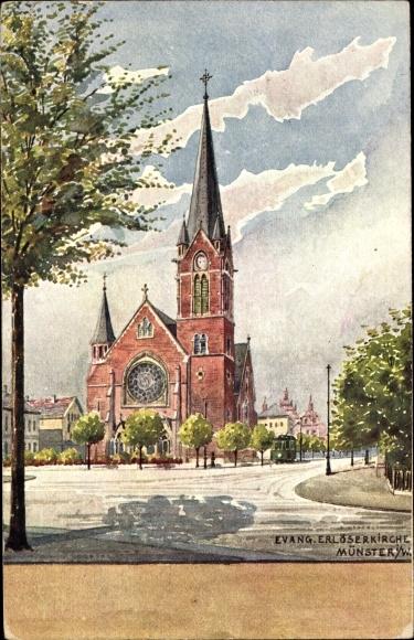 Künstler Ak Münster in Westfalen, Ev. Erlöserkirche