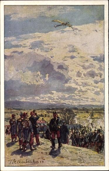 Künstler Ak Eckenbrecher, Themistokles von, Beschießung einer deutschen Taube