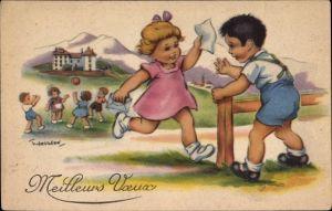 Künstler Ak Gougeon, T., Mädchen rennt mit einem Brief zu einem Jungen