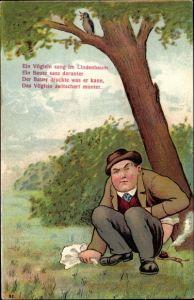 Litho Ein Vöglein sang im Lindenbaum, ein Bauer sass darunter, der Bauer druckte was erkann