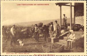 Ak Les Vendanges en Bourgogne, Männer bei der Weinlese, Weinberg