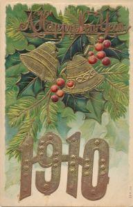 Präge Litho Glückwunsch Neujahr, Jahreszahl 1910, Glocken, Nadelzweige