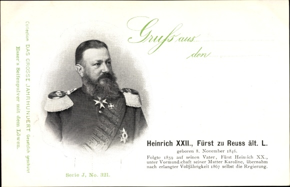 Ak Fürst Heinrich XXII. zu Reuss ält.L. 8 November 1846