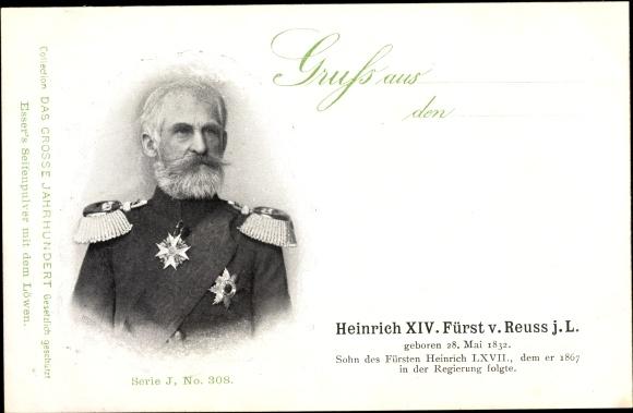 Ak Fürst Heinrich XIV. von Reuss j.L., Geboren am 28. Mai 1832