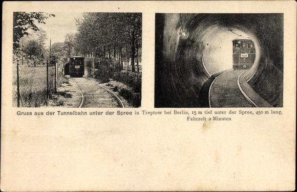 Ak Berlin Treptow, Tunnelbahn unter der Spree, Untergrundbahn, U-Bahn