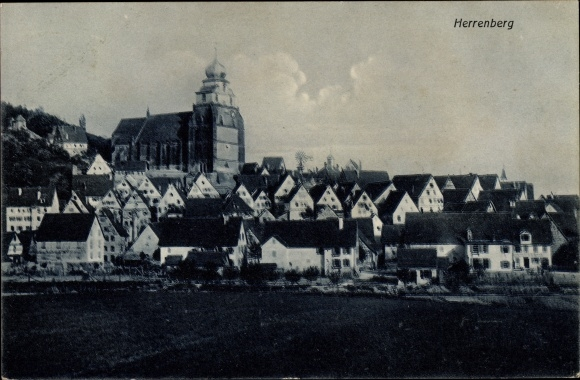Ak Herrenberg Baden Württemberg, Gesamtansicht mit Kirche, Wohnhäuser