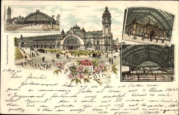 Litho Köln am Rhein, Hauptbahnhof, Außenansicht, Bahnhofshalle, Gleise