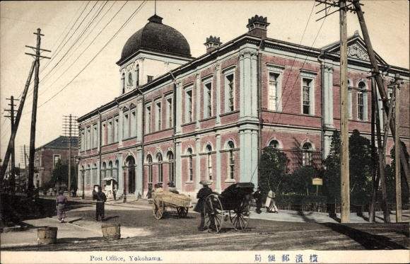Ak Yokohama Präf. Kanagawa Japan, Post Office, Straßenpartie vor dem Postgebäude
