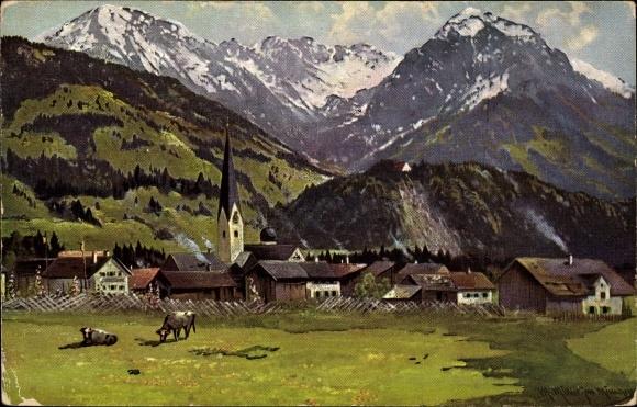 Künstler Ak Müller, M. jun., Fischen im Allgäu in Schwaben, Schöllangerburg, Kühe, Blick auf den Ort